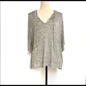 Juicy Couture gray Hi/Lo cropped poncho hoodie, LG